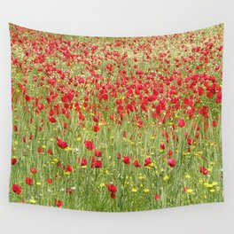 Meadow With Beautiful Bright Red Poppy Flowers  Wall Tapestry