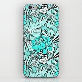 Trendy modern teal watercolor water lilies floral iPhone Skin
