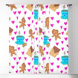 Cute sweet gingerbread men cookies, chocolate bars, cups of hot cocoa, pink hearts winter pattern Blackout Curtain