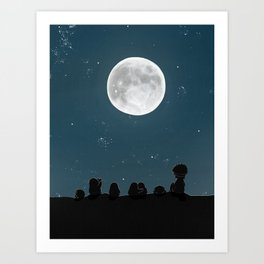 Watching the Moon, (The Unexpected Adventures: Moon Day) Art Print