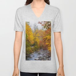 Photos USA Great Smoky Mountains Autumn Creeks Nature park forest Creek brook Stream Streams Parks Forests Unisex V-Neck