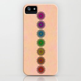 Colorful Rainbow Chakra Mandala , Yoga & Meditation Seven Sacred Mandalas Flower Painting iPhone Case