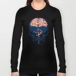 Dead Skull Zombie with Brain Long Sleeve T-shirt