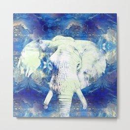 Blue marble water White Elephant Digital art Metal Print