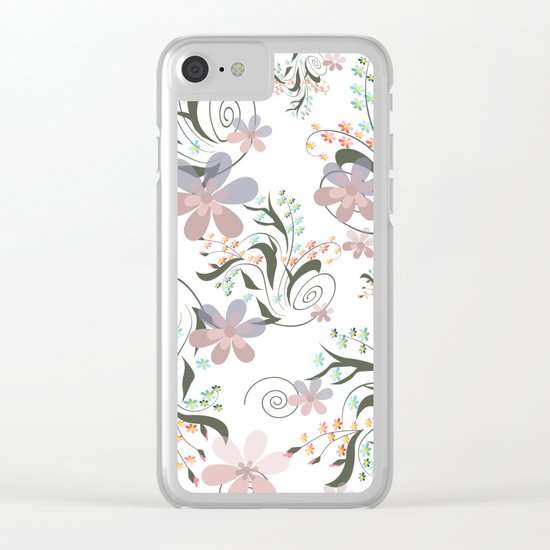 Pink blue flowers . floral pattern , flowers , illustration flowers , textiles flower , pink flowers Clear iPhone Case