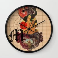 dramatical murder Wall Clocks featuring Murder Mind by Lewis Mclean