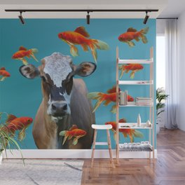 Goldfishes with Costa Rica Cow Wall Mural