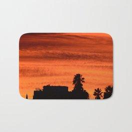 Blood Orange Sunset Over Small Desert Town Bath Mat