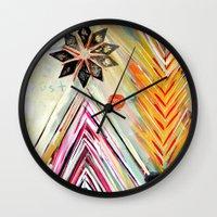 "flora bowley Wall Clocks featuring ""True North"" Original Painting by Flora Bowley by Flora Bowley"