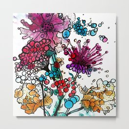 Floral watercolor abstraction Metal Print