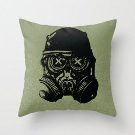 Gas mask skull Throw Pillow