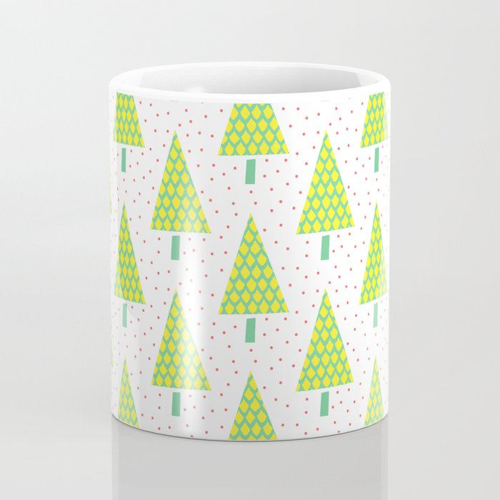 Teal and Yellow Winter Trees Coffee Mug