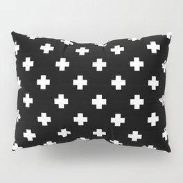 White Swiss Cross Pattern on black background Pillow Sham