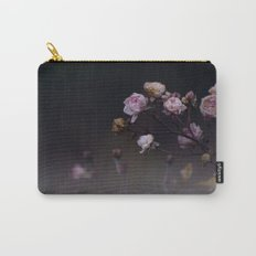 Delicate Dried Pink Mini Roses on Smoky Dark Grey Carry-All Pouch