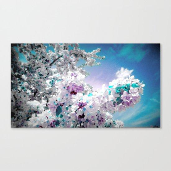 Flowers Lavender Turquoise Aqua Blue Canvas Print