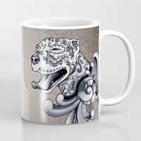 pit bull Mugs featuring Ornamental Pit Bull by Pretty In Ink