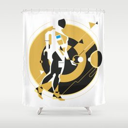 space girl, astronaut girl in space, concept illustration, science fiction Shower Curtain