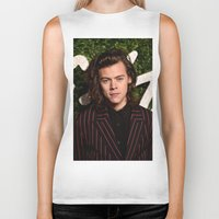 harry styles Biker Tanks featuring Harry Styles by behindthenoise