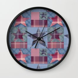Blue denim plaid patchwork . Wall Clock