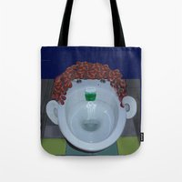 toilet Tote Bags featuring Toilet Face by Dano77