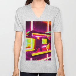 night light with open neon sign in pink yellow green background Unisex V-Neck