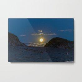 Moon Rise Denmark Bjerregard Beach Metal Print