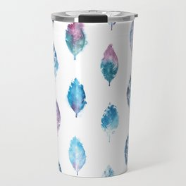 Blue Purple Watercolor Leaves Travel Mug