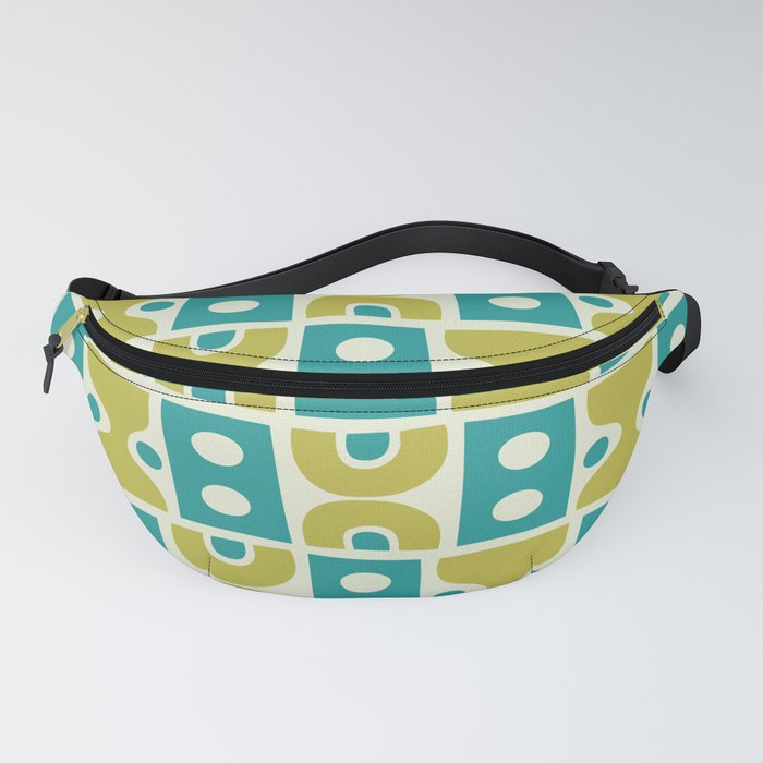 Funky Mid Century Modern Pattern 773 Turquoise and Chartreuse Fanny Pack