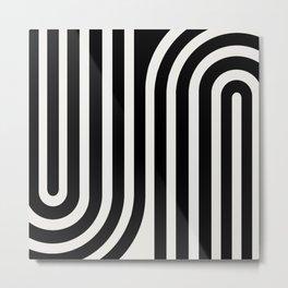 Minimal Line Curvature - Black and White III Metal Print