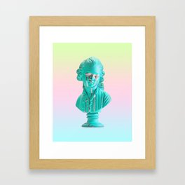 Bust of a Weeping Man (In Ice Blue Gradient) Framed Art Print