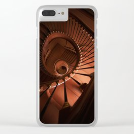 Spiral staircase in browns Clear iPhone Case
