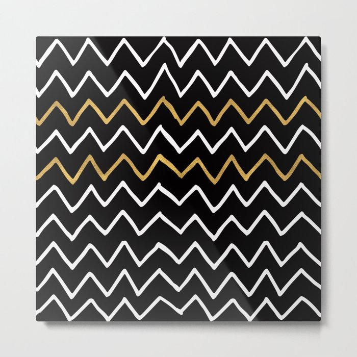 Writing Exercise-Simple Zig Zag Pattern- White Gold on Black -Mix & Match with Simplicity of life Metal Print