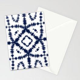 White & Indigo Blue Itajime Shibori Stationery Cards