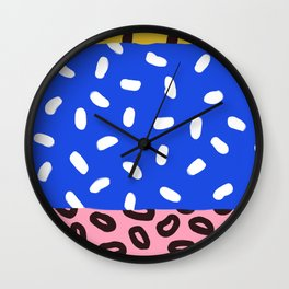 Blue, Pink and Leopard Abstract Print Wall Clock