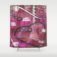 xoxo Shower Curtains featuring XOXO by Kimberly McGuiness