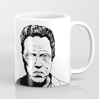 christopher walken Mugs featuring Christopher Walken by Sheena White for Winsome Gallery