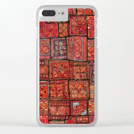 V5 Red Traditional Moroccan Design - A3 Clear iPhone Case