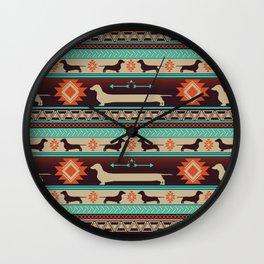 Boho dogs | Smooth Dachshund sunset Wall Clock