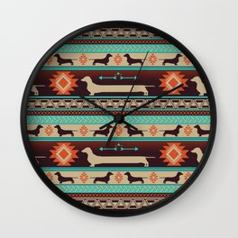 Boho dogs | Smooth Dachshund sunset Wall Clock