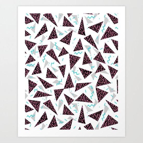 Trendy 80's style geometric triangle retro cool neon pattern art print affordable college dorm decor Art Print