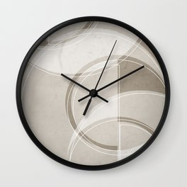 Where the Circles and Semi-Circles Meet in Taupe Wall Clock