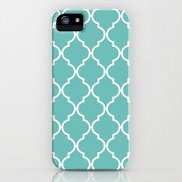 Moroccan Trellis, Latticework - Blue White iPhone Case