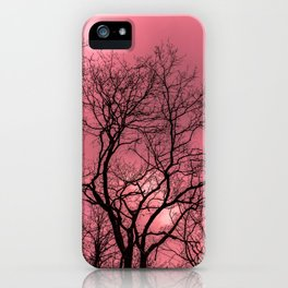 Psychedelic forest, mystical pink sky iPhone Case