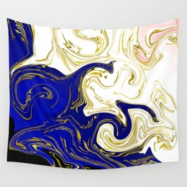blue ,gold,rose,black,golden fractal, vibrations, circles modern pattern, Wall Tapestry