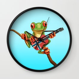 Tree Frog Playing Acoustic Guitar with Flag of Norway Wall Clock