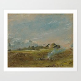 John Constable - Hampstead Heath, with a Bonfire Art Print