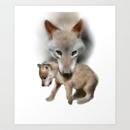 Wolf and Pup Art Print