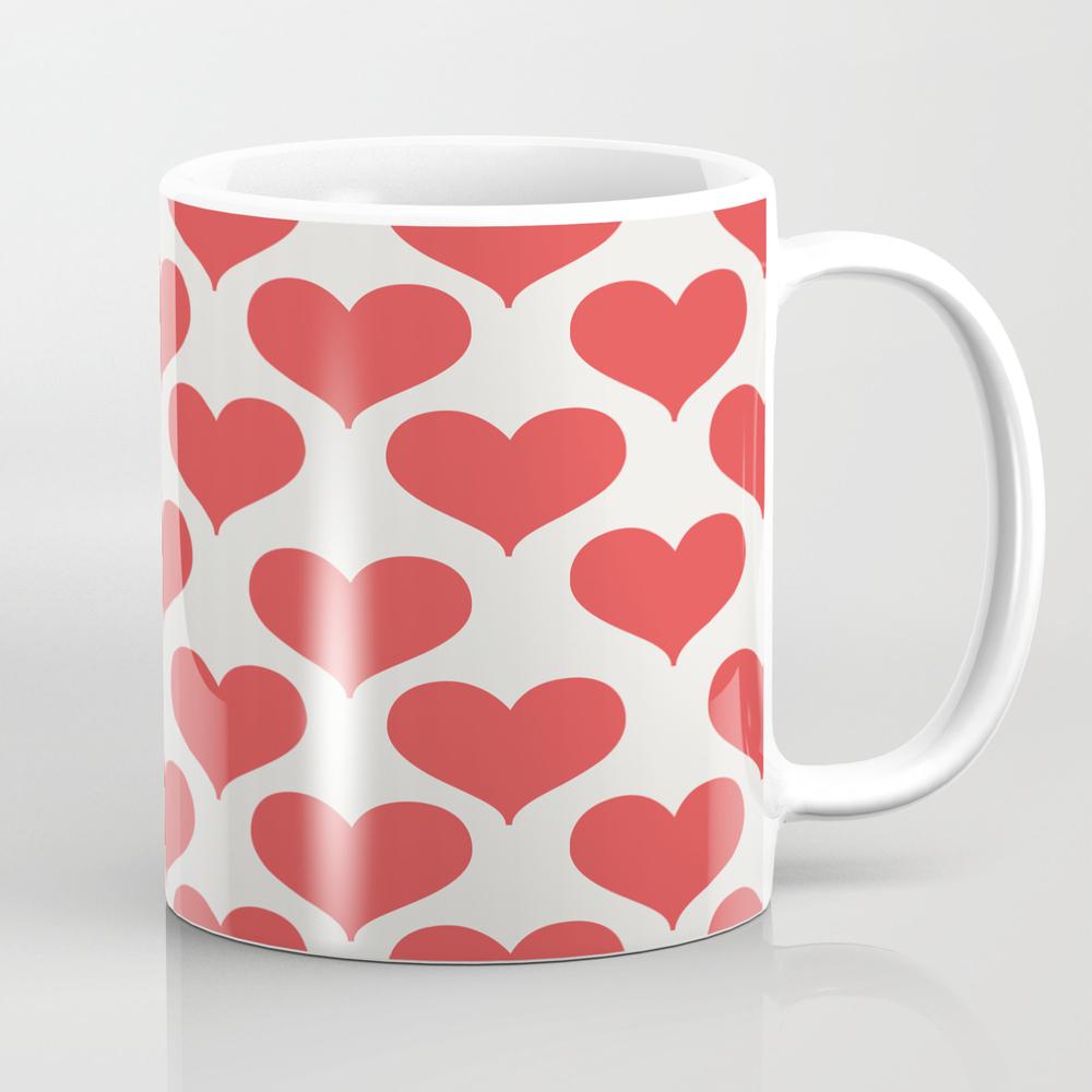 Heart You - Red Heart Pattern Mug by Allyjcat MUG995225