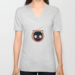Black Cute Cat With Hearts Unisex V-Neck