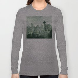 Seattle Skyline Watercolor Space Needle Emerald City 12th Man Art Long Sleeve T-shirt
